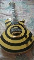 Бесплатная доставка zakk wylde OEM custom гитары черный и желтый EMG пикапы Гровер клен Топ Высокое качество корпус из красного дерева клен шеи