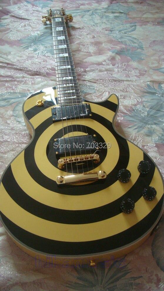 Free shipping zakk wylde OEM custom guitar black and yellow EMG pickups Grover maple top high quality mahogany body maple neck