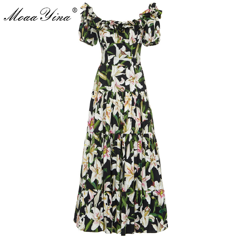 MoaaYina Fashion Designer Runway dress Spring Summer Women Dress lily Floral Print Elegant Cotton Dresses-in Dresses from Women's Clothing    1