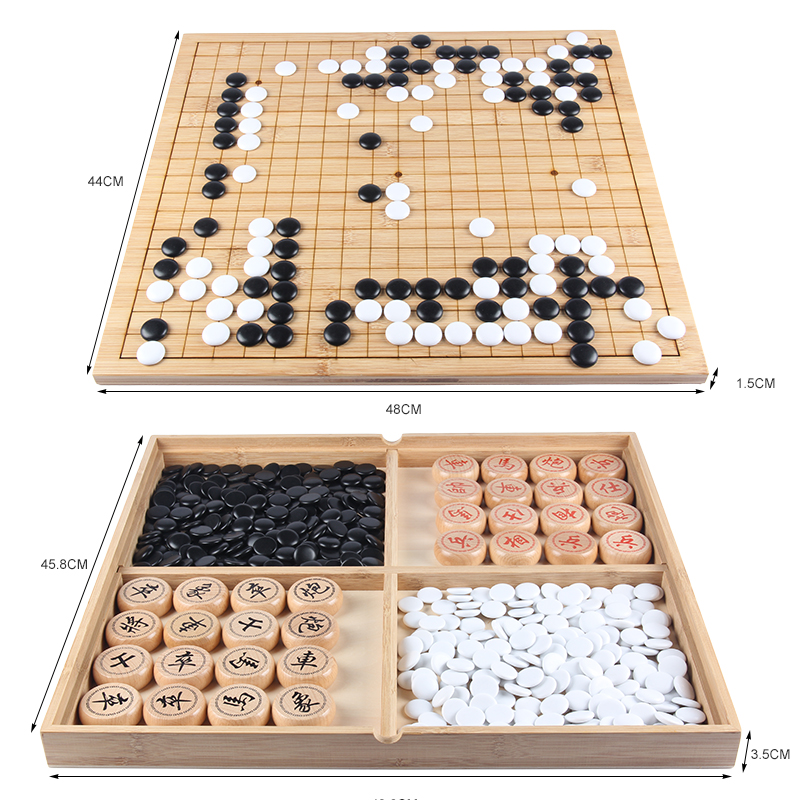 2018 new chess Go game Chinese chess solid wood double Board 19 road go game Gobang upscale set boxed travel game chess 5kg 36 4 33cm cotta warrior chess q edition journey to travel cartoon characters chinese chess set chess lovers collection good gift