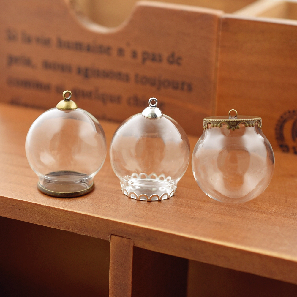 10set 30*20mm hollow glass globe with setting <font><b>base</b></font> beads cap <font><b>set</b></font> orb glass vials pendant glass bottle <font><b>jewelry</b></font> pendant image