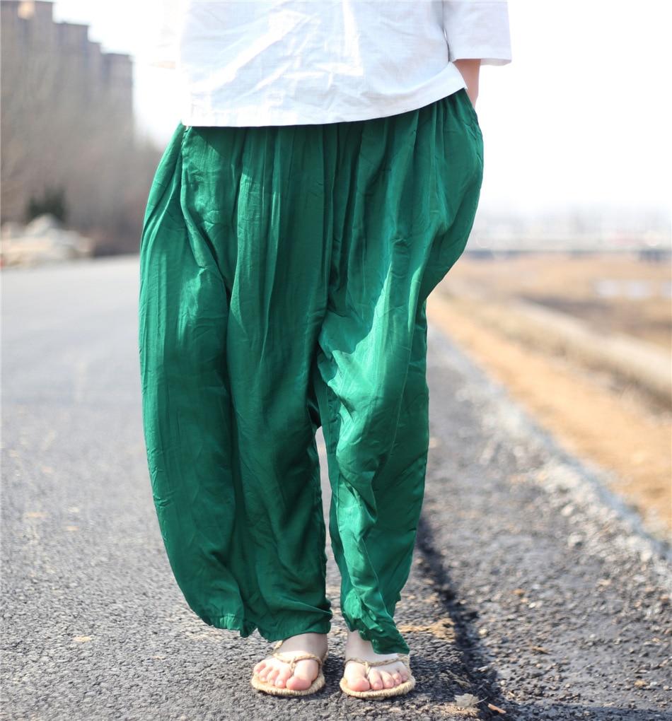 Favoloso Online Shop Donne Raso Pantaloni Larghi del Piedino 100% Reale  LK08