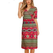 2019 summer new retro print style womens V-neck short-sleeved elastic waist A word dress national costume elements 22800