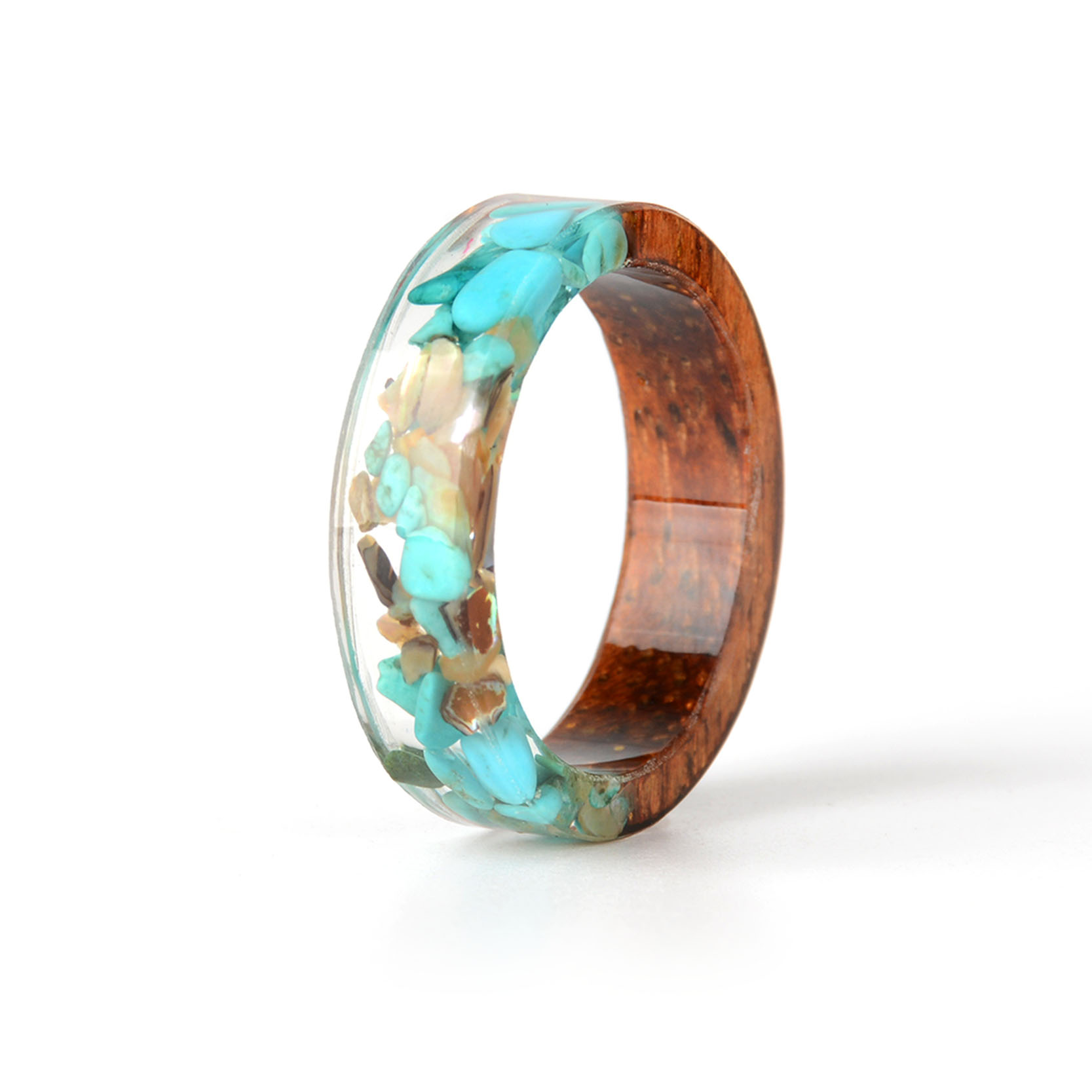 HTB1NZVjdi6guuRkSnb4q6zu4XXa3 - Hot Sale Handmade Wood Resin Ring Dried Flowers Plants Inside Jewelry Resin Ring Transparent Anniversary Ring for Women