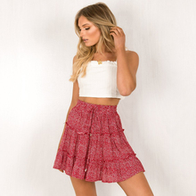 Spring and summer new style Temperament fashion print skirt High-waist ruffled floral