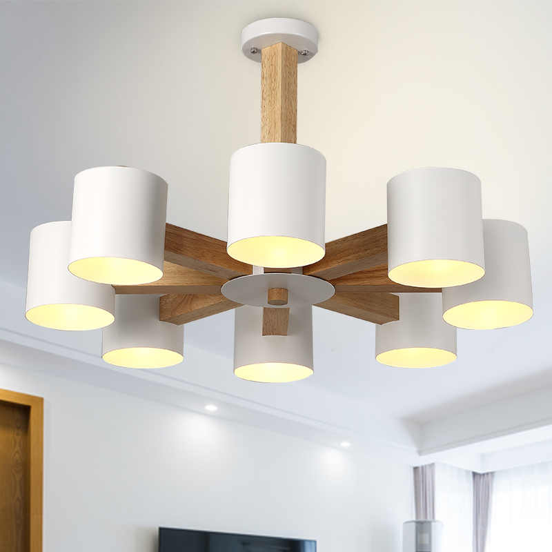 Nordic fashion simple solid wood pendant lamp dining room living room black / white iron pendant lights 3/6/8 heads a1 master bedroom living room lamp crystal pendant lights dining room lamp european style dual use fashion pendant lamps