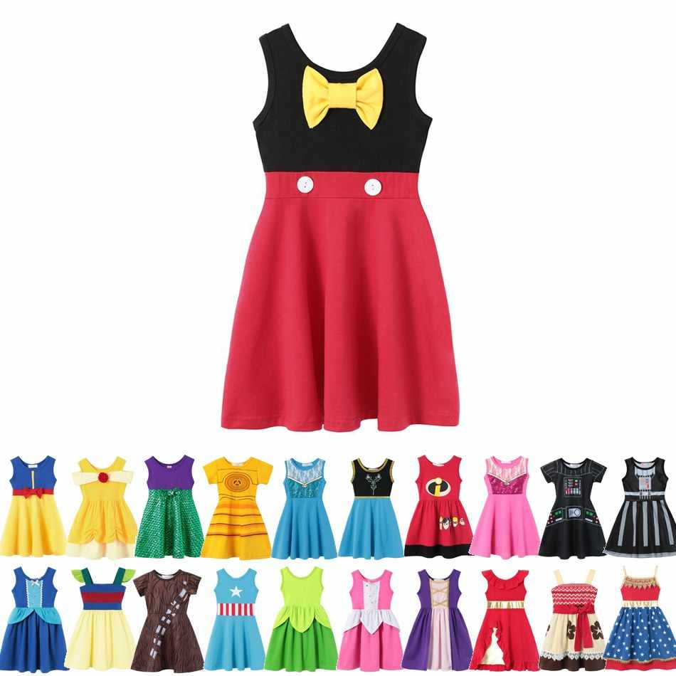 MUABABY Girls Summer Dress Child Mickey Belle Ariel Snow White Moana Elena Elsa Anna Rapunzel Cotton Birthday Princess Costume