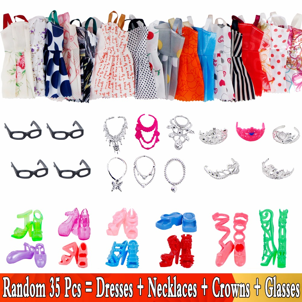 bc6f30d966b9 35 artículos/Set accesorios para muñecas = 10 vestidos + 10 zapatos + 6  collares + 4x gafas + 5x ropa vestido corona para muñeca Barbie de juguete