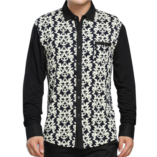 Spring 2016 men's clothing business Slim Print shirt new middle-aged long-sleeved shirt high-grade men's  shirt 75