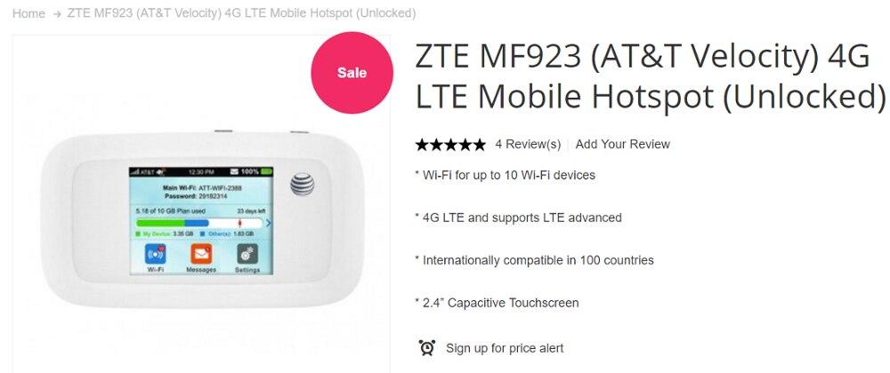 ZTE MF923 AT/&T Unlocked Velocity 4G LTE Mobile Hotspot Mobile Broadband New