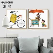 HAOCHU Vintage Retro circo Animal paseo bicicleta almoghty Monkey lienzo pintura cuadro divertido póster de pared niños decoración para dormitorio infantil