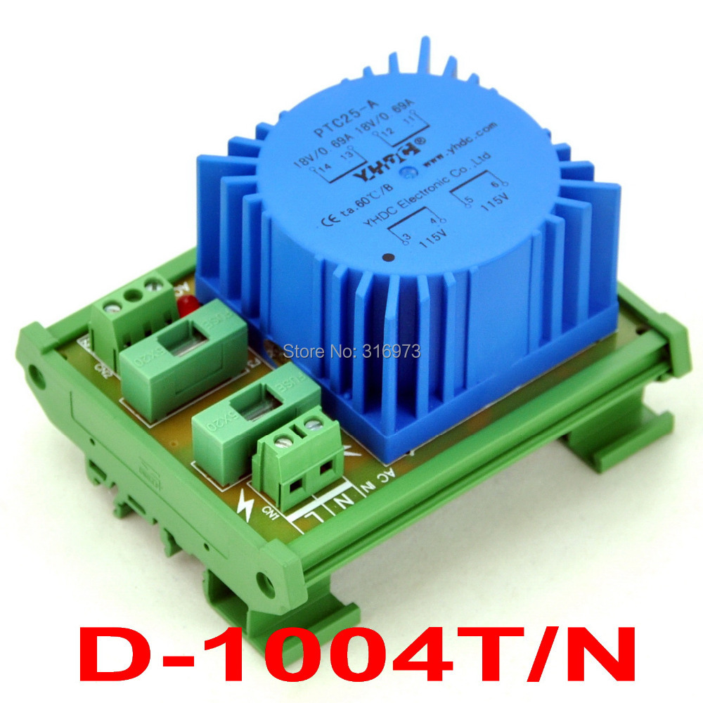 P 115VAC, S 18VAC, 25VA DIN Rail Mount Toroidal Power Transformer Module.
