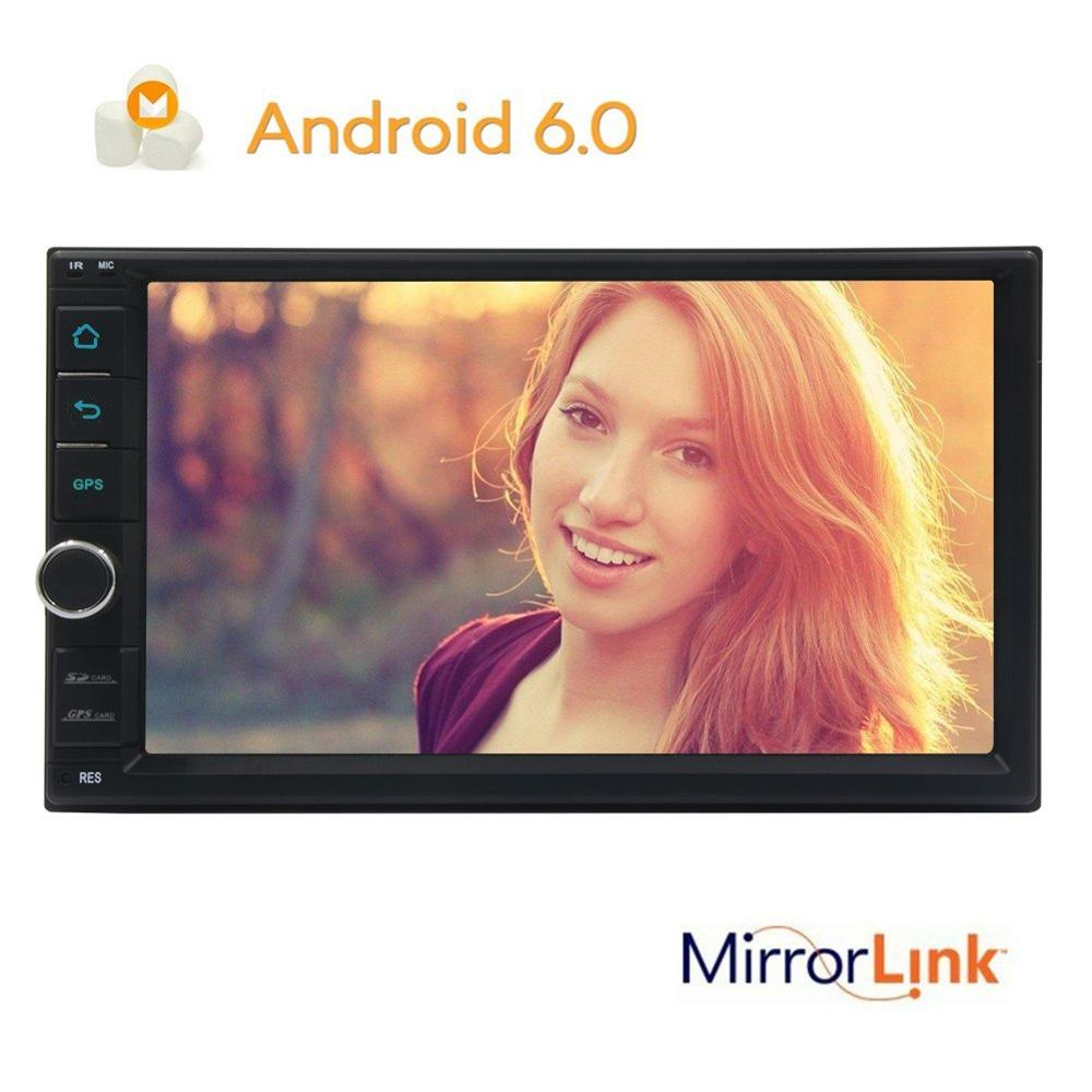 2DIN Android 6.0 <font><b>Car</b></font> video Stereo GPS Navigation Radio Bluetooth 2 din Head Unit <font><b>Phone</b></font> <font><b>Mirroring</b></font> CAM-IN WIFI steering wheel con