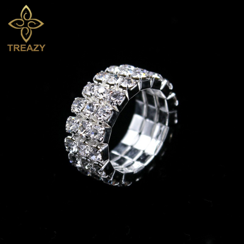 TREAZY 5pcs/lot Classic 3 rows Crystal Rhinestone Wedding Rings Sparkling Elastic Rings  ...