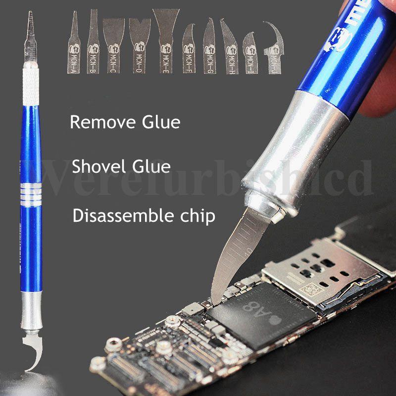 bilder für Wrcibo Universal 10 in 1 Professionelle Messer Set Für iPhone 7 6 s Plus 6 5 s 5c Motherboard CPU Chip Disassembe BGA Reparatur werkzeuge