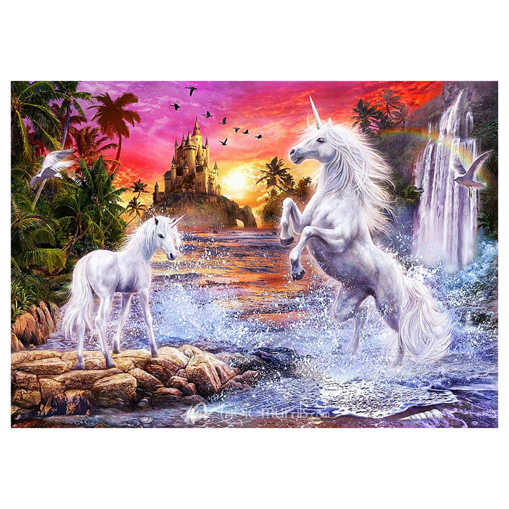 DIY 5D Diamond Painting Cross Stitch Two White Horse Jumping Diamond Picture Wall Hanging Handmade Decor Craft