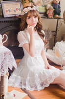 Princess Sweet Lolita Dress Candy Rain Japanese Style Summer Sweet White Lace Chiffon Princess Pure And