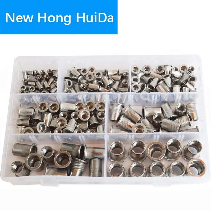 185Pcs Rivet Nuts Metric Threaded Rivnut Insert Rivetnut Nutsert Assortment Kit Set 304 Stainless Steel M3 M4 M5 M6 M8 M10 M12