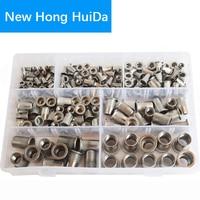 185Pcs Rivet Nuts Metric Threaded Rivnut Insert Rivetnut Nutsert Assortment Kit Set 304 Stainless Steel M3 M4 M5 M6 M8 M10 M12