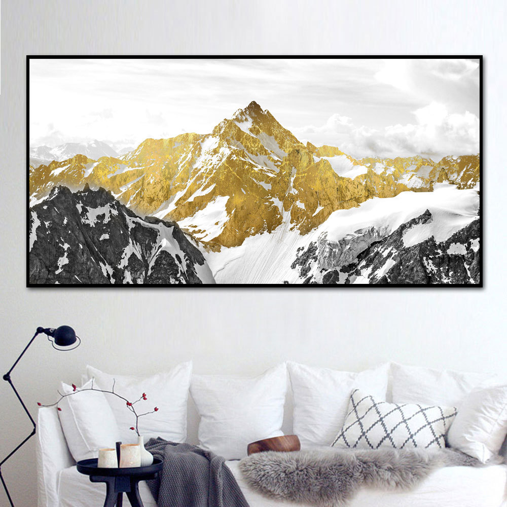 Nordic Poster Snow Golden Mountain Modern Canvas Prints Wall Large Abstract Oil Paintings for Living Room Home Decor Unframed in Painting Calligraphy from Home Garden
