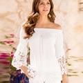 Fora Os Topos de Ombro Para As Mulheres Branco, Preto Outono de Manga Comprida T-shirt de Slash Neck Lace Moda Solta Camiseta Femme Quente venda
