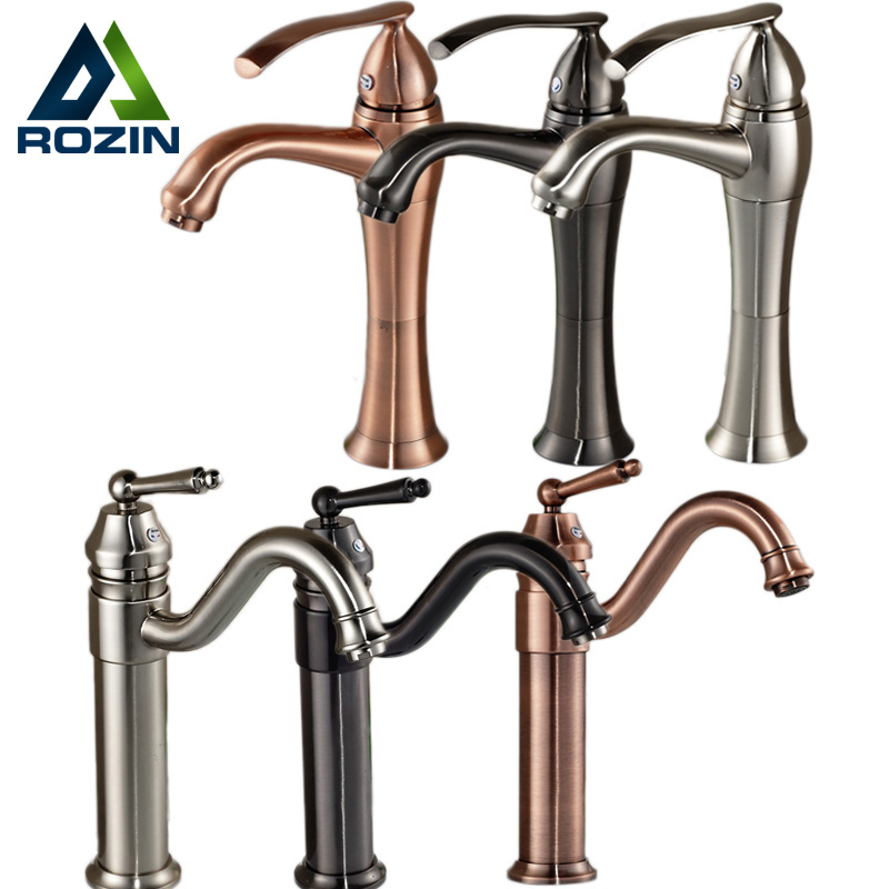 Brand New Ceramic Cartridge Basin Sink Faucet One Handle Retro Bathroom Mixer Tap with Hot and Cold Water 3-colors