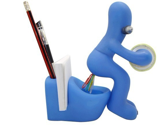 Butt Station Desk Accessory Tape Dispenser Pen Memo Holder Clip Storage Holder Office Supplies Random Color