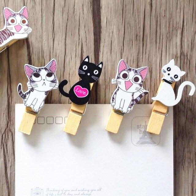 Super 10 pcs/Lot Japon style Mignon chat en bois clips + corde Mini  GH98