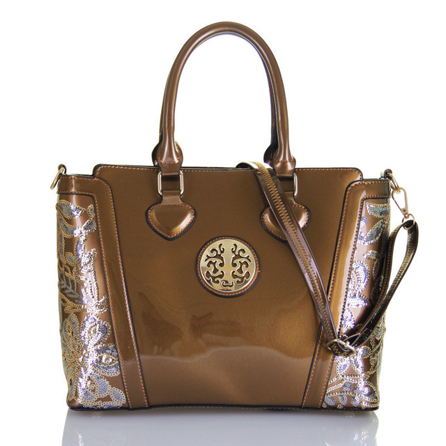 New Luxury Golden Women Leather Handbags Fashion Brands Logo Women