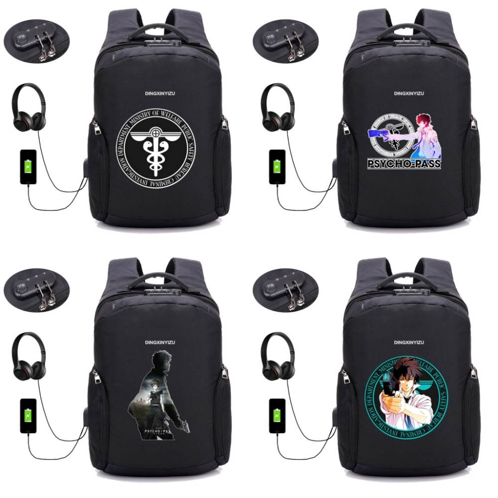 anime psycho-pass backpack USB Charge Anti Theft Travel Backpack School Bag boy girl student book packsack 12 styleanime psycho-pass backpack USB Charge Anti Theft Travel Backpack School Bag boy girl student book packsack 12 style
