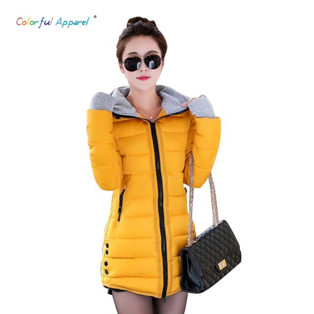 Coloridas Prendas De Vestir En la parte larga de algodón guantes de mujer de invierno 2015 nuevas Mujeres de Corea Slim Down chaqueta acolchada con capucha