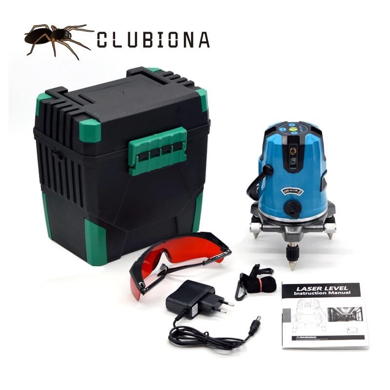 CLUBIONA 5 linhas de 6 pontos de 360 graus rotary 635nm laser ao ar livre mode-receptor e inclinação barra disponível auto nível do laser linha