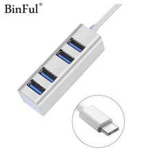 BinFul Aluminum USB 3.0 HUB USB-C Type C Interface for MacBook pro laptops accessories adapter with Micro Power Usb port цена и фото