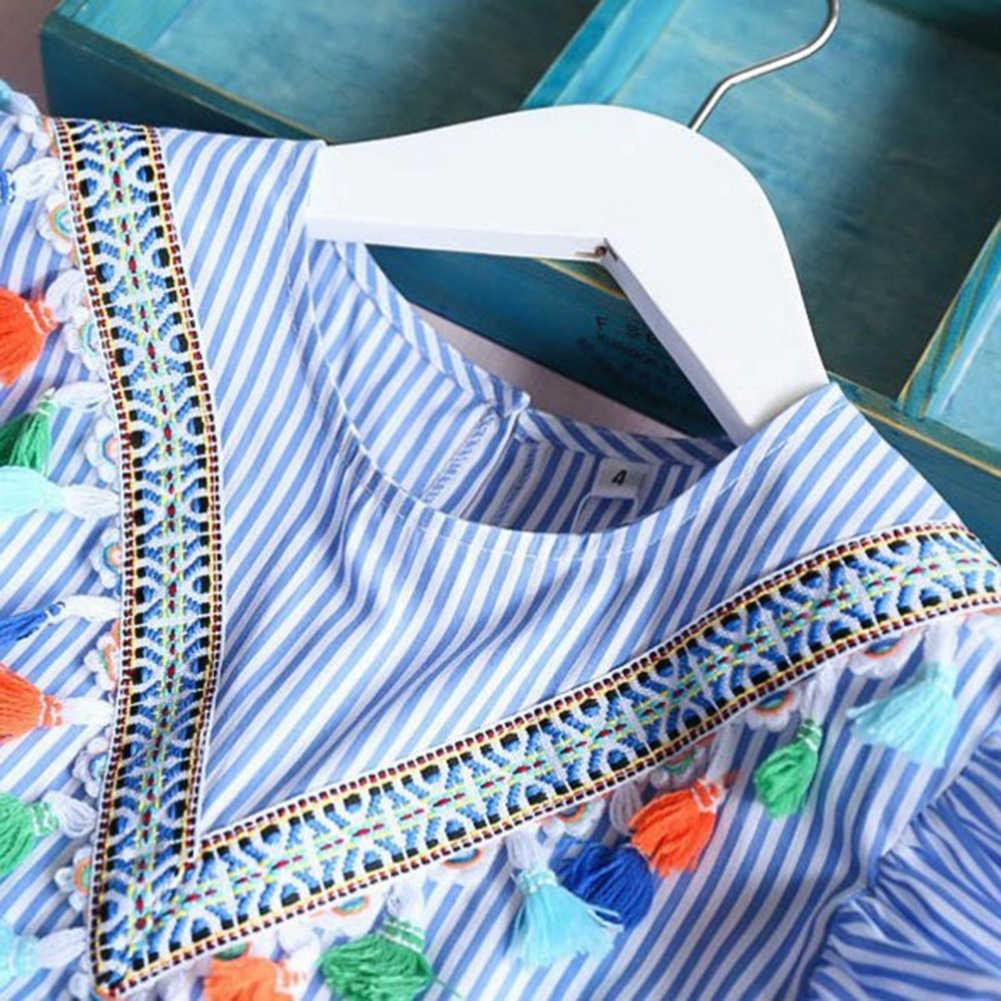 夏飛行袖の女の子タッセルドレスストライプ綿かわいい子供パーティードレスのためのキッズガールズプリンセスドレストップス服