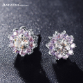 ANFASNI Korea Style Hotting Sale Earrings Plated Clear Flower AAA Cubic Zircon Earrings For Wome CER0204-B