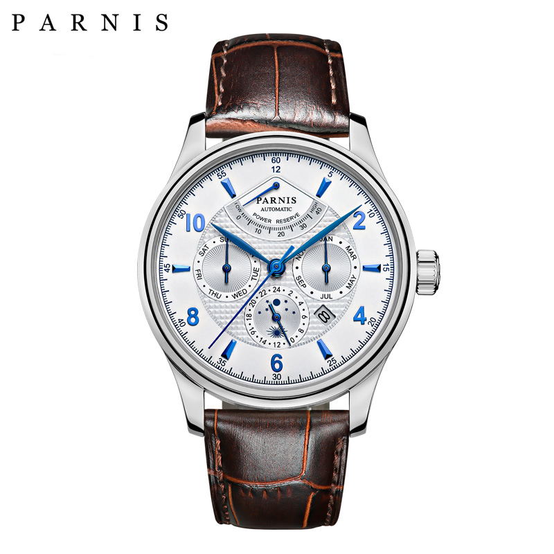 Casual 42mm Parnis Automatic Watch Men Power Reserve Moon Phase Business Men Menchanical Watches Auto Date Wrist watch