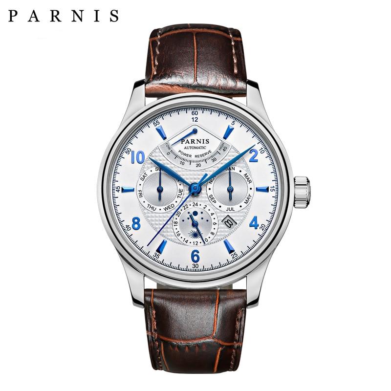 Casual 42mm Parnis reloj automático hombres reserva de energía Luna fase negocios hombres relojes mecánicos reloj de pulsera fecha automática-in Relojes mecánicos from Relojes de pulsera    1