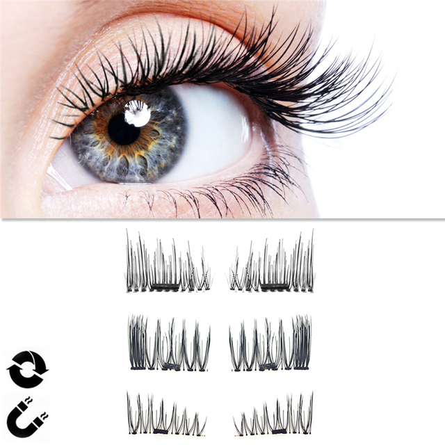 4pcsset Magnetic Eyelashes No Glue Fake Eyelashes Halloween 3d
