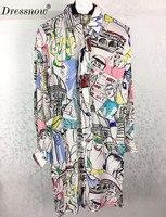 High Quality women blouse dress long sleeve long blouse dress summer silk dress