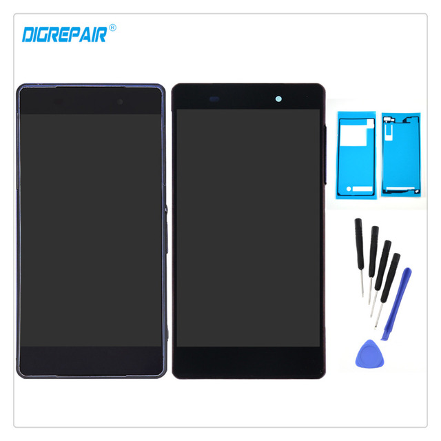 New Black/White For Sony Xperia Z2 L50W D6502 D6503 D6543 LCD Display Digitizer Touch Screen Assembly Parts+Frame+Tools+Adhesive
