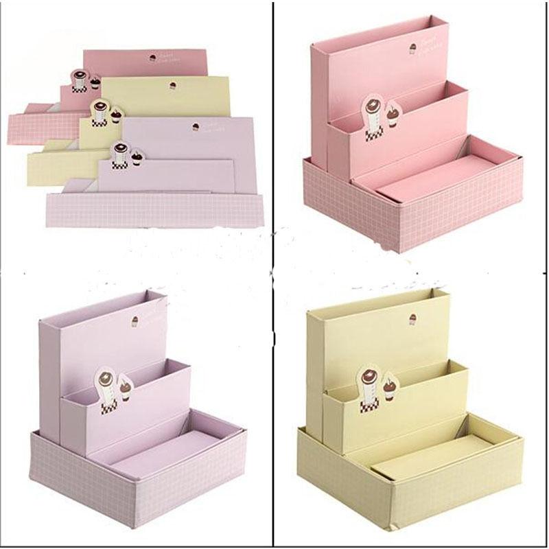 HotSale Paper Board Storage Box Desk Decor Stationery Organizer Makeup Cosmetic New makeup organizer box