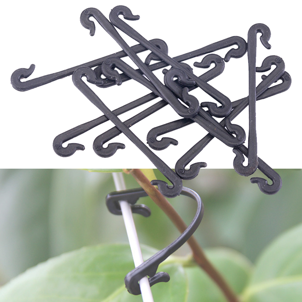 100Pcs Garden Stems Vegetable Grafting Clips Agricultural Plant Hook Supports Vines Fastener Bundled Tied Buckle Tools Fixed 5 in Plant Cages Supports from Home Garden