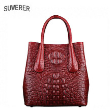 2019 new Genuine Leather women bags luxury handbags designer big bag Crocodile embossing leather