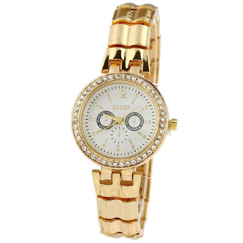 High Quality New Geneva  Metal Golden Color Watch Women Luxury Rhinestone Fashion Wristwatch Dropshipping geneva new jd mk