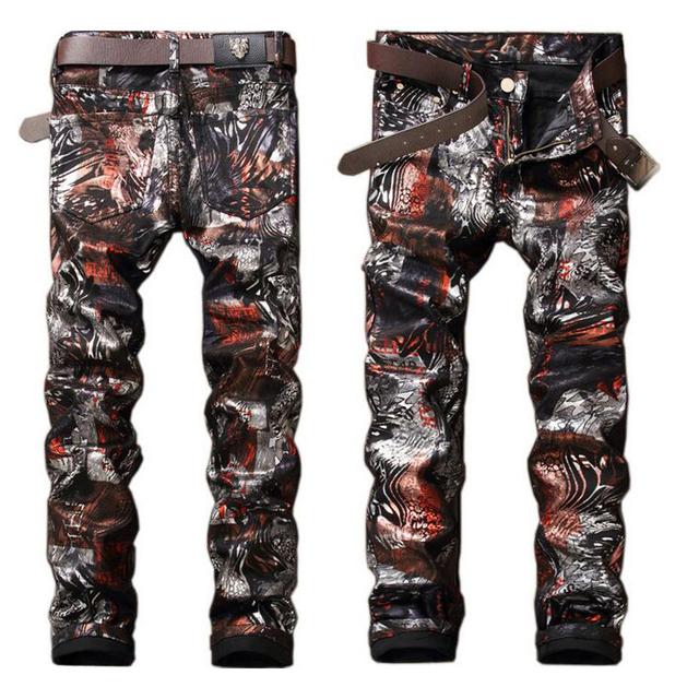 High quality men's jeans Casual Fashion print nightclub Straight Hip-Hop jeans men denim trousers Slim for men denim pants