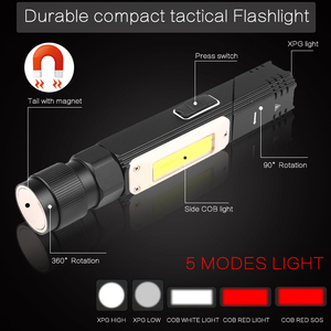Image 2 - 8000LM Led Flashlight Handfree Dual Fuel 90 Degree Twist Rotary Clip Waterproof Magnet Mini Lighting LED Torch Outdoor