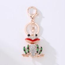 Lovely Frog Cute Animal Crystal Charm Purse Handbag Car Key Keyring Keychain Party Wedding Birthday Gift
