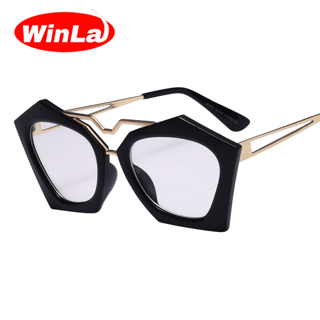 b1af195d11c Winla Shield Frame Women Sunglasses Clear Lens New Fashion Retro Designer  Eyewear for Female Shades Accessories