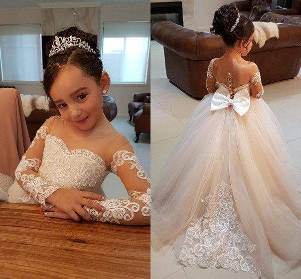 Ball Gown   Flower     Girls     Dresses   For Weddings Sheer Neck Illusion Long Sleeves BowTulle Applique Lace Children Pageant Gown Modest