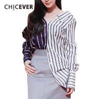 CHICEVER 2017 Summer Sexy Off Shoulder Hit Female T Shirt For Women Striped Irregular Tops Clothes